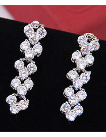 Elegant Zircon Mickey Shape Diamond Decorated Earrings