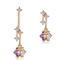 Delicate Zircon Color Matching Decorated Dissymmetry Earrings