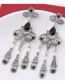 Vintage Black Oval Shape Gemstone Decorated Tassel Earrings