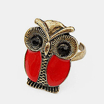 Lovely Red Metal Owl Decorated Ring