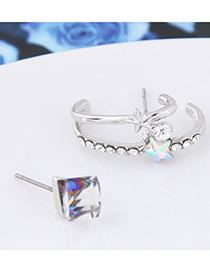 Fashion White Star Shape Diamond Dissymmetry Earrings