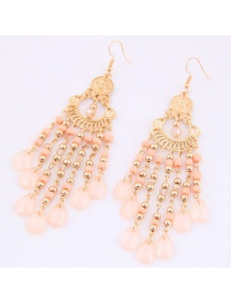 Trendy Champagne Long Tassel Decorated Pure Color Earrings