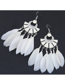 Trendy White Feather Decorated Pure Color Earrings