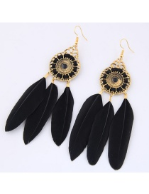 Trendy Black Feather Decorated Pure Color Earrings