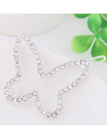 Fashion White Full Diamond Decorated Butterfly Shape Hairpin