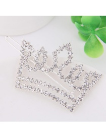 Fashion Silver Color Full Diamond Decorated Crown Shape Hairpin