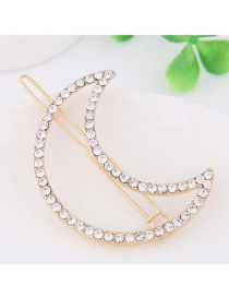 Fashion Gold Color Full Diamond Decorated Moon Shape Hairpin