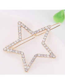 Fashion Gold Color Full Diamond Decorated Star Shape Hairpin