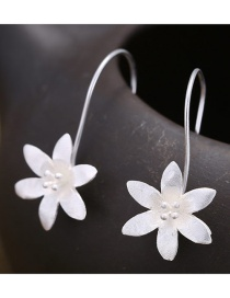 Sweet Silver Color Flowers Decorated Pure Color Simple Earrings