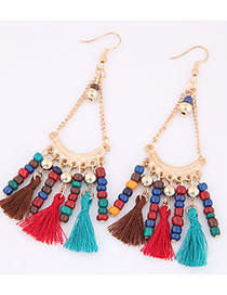 Trendy Multi-color Tassel&beads Decorated Color Matching Earrings