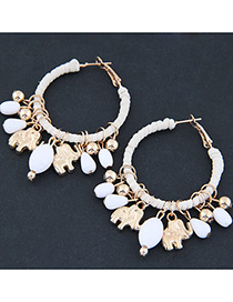 Trendy White Bears&beasd Decorated Pure Color Earrings