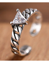 Fashion Antique Silver Triangle Shape Diamond Decorated Opening Ring