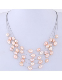Fashion Pink Pearls Decorated Multi-layer Necklace