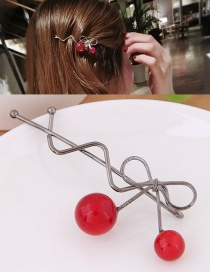 Fashion Gray Cherry Shape Decorated Simple Hairpin