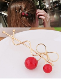 Fashion Gold Color Cherry Shape Decorated Simple Hairpin