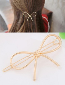 Fashion Gold Color Bowknot Shape Decorated Pure Color Hairpin
