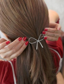 Fashion Silver Color Bowknot Shape Decorated Pure Color Hairpin