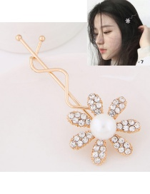Sweet Gold Color Flower Shape Decorated Simple Hairpin