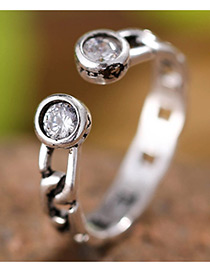 Fashion Antique Silver Diamond Decorated Pure Color Simple Ring