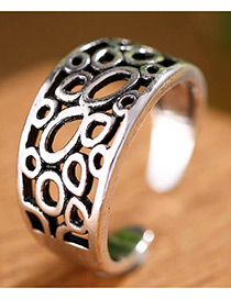 Fashion Antique Silver Oval Shape Decorated Hollow Out Opening Ring