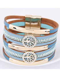 Fahsion Blue Diamond Decorated Tree Shape Multi-layer Bracelet