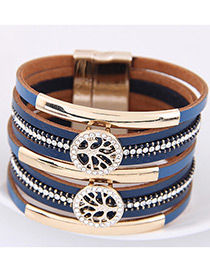 Fahsion Sapphire Blue Diamond Decorated Tree Shape Multi-layer Bracelet