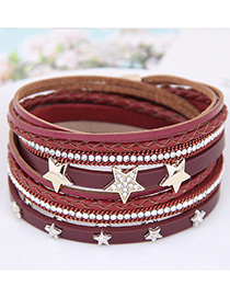 Fahsion Claret Red Diamond Decorated Stars Shape Multi-layer Bracelet