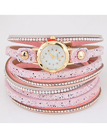 Fahsion Pink Diamond Decorated Round Dial Multi-layer Watch