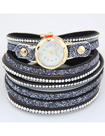 Fahsion Dark Blue Diamond Decorated Round Dial Multi-layer Watch