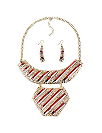 Exaggerate Red Color Matching Decorated Simple Short Chain Jewelry Sets