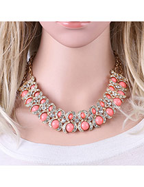 Fashion Pink Rond Shape Gemstone Decorated Simple Double Layer Necklace