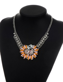 Fashion Multi-color Square Shape Diamond Decorated Simple Short Chain Necklace