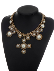 Fashion Gold Color Round Shape Decorated Simple Short Chain Necklace