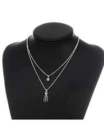 Fashion Silver Color Metal Violin Pendent Decorated Double Layer Necklace