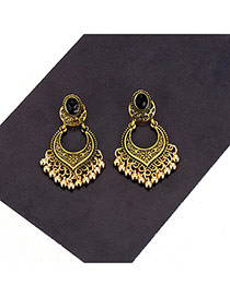 Vintage Gold Color Metal Tassel Decorated Pure Color Desigh Earrings