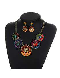 Retro Multi-color Round Shape Decorated Simple Short Cahin Necklace