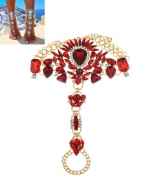 Fashion Red Irregularity Shape Diamond Decorated Simple Anklet