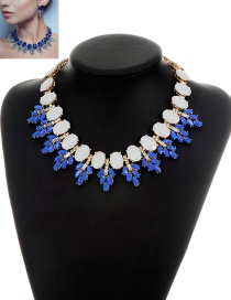 Fashion Blue Round Shape Gemstone Decorated Simple Short Chain Necklace