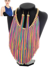 Exaggerate Multi-color Long Chain Pendant Decorated Simple Jewelry Sets