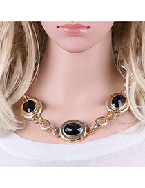 Fashion Black Round Shape Gemstone Decorated Simple Short Chain Necklace
