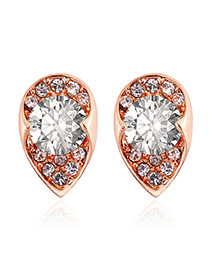 Personality Rose Gold Round Shape Diamond Decorated Simple Earrings