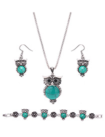 Lovely Green Owl Shape Pendant Decorated Simple Jewelry Sets