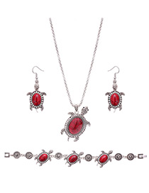 Lovely Red Tortoise Shape Pendant Decorated Simple Jewelry Sets