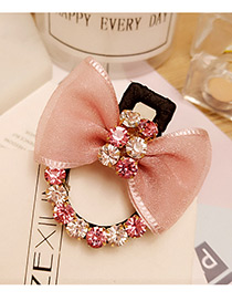 Lovely Pink Bowknot Shape &round Shape Diamond Decorated Simple Hairpin