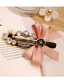 Elegant Pink Bowknot Shape &rose Shape Diamond Decorated Simple Hairpin