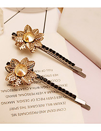 Vintage Champagne Flower Decorated Color Matching Simple Hair Pin (2pcs)