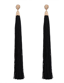 Trendy Black Pure Color Decorated Long Tassel Design Earrings