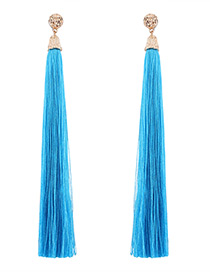 Trendy Blue Pure Color Decorated Long Tassel Design Earrings