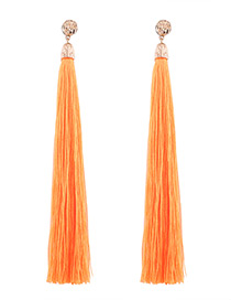 Trendy Orange Pure Color Decorated Long Tassel Design Earrings