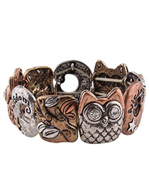 Trendy Antique Bronze Cartoon Pattern Decorated Color Matching Bracelet